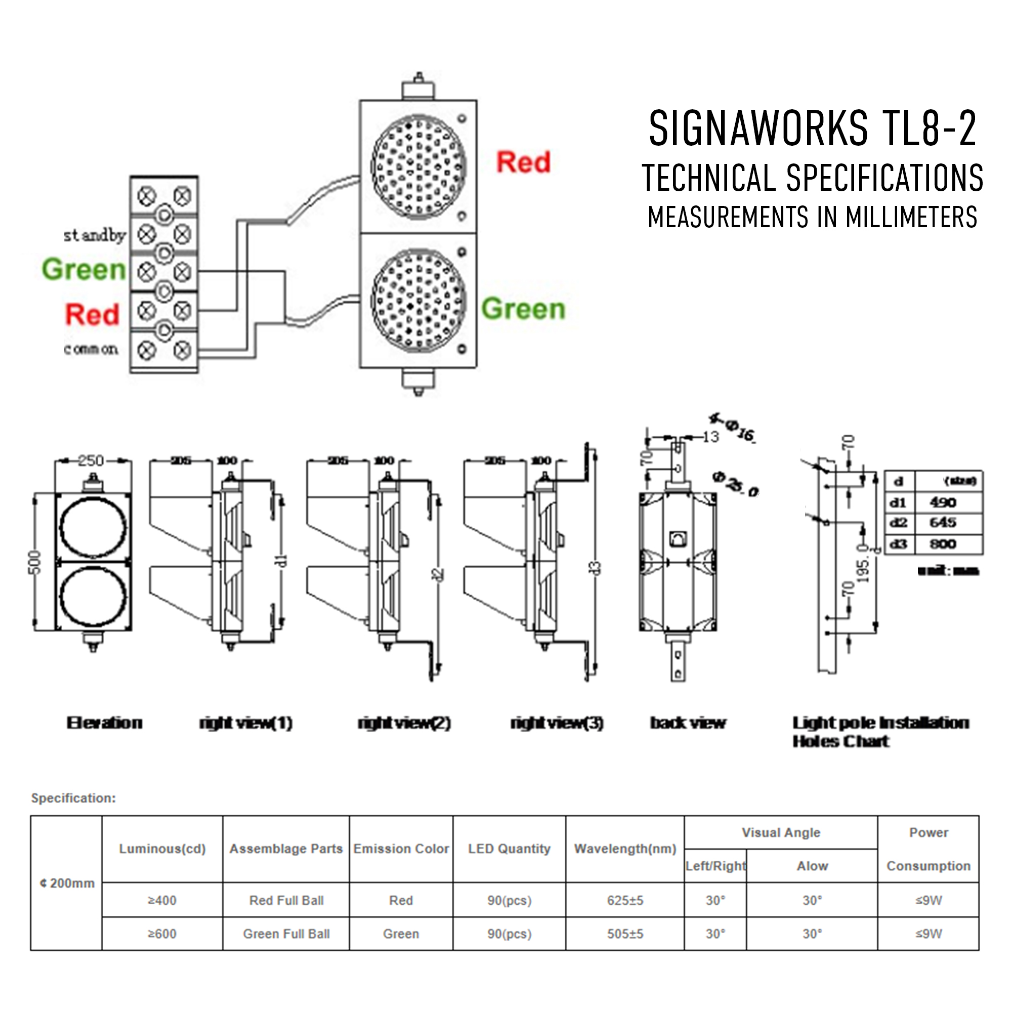 8 Inch Led Traffic Light Industrial Signaworks Trafficsignallightcontroldiagram3 Tl8 2 Technical Specifications